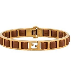 FENDI • Fendista Logo Brown Leather Woven Bangle